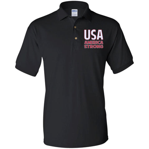 America Strong. White/Red. Gildan Jersey Polo Shirt. (Embroidered)
