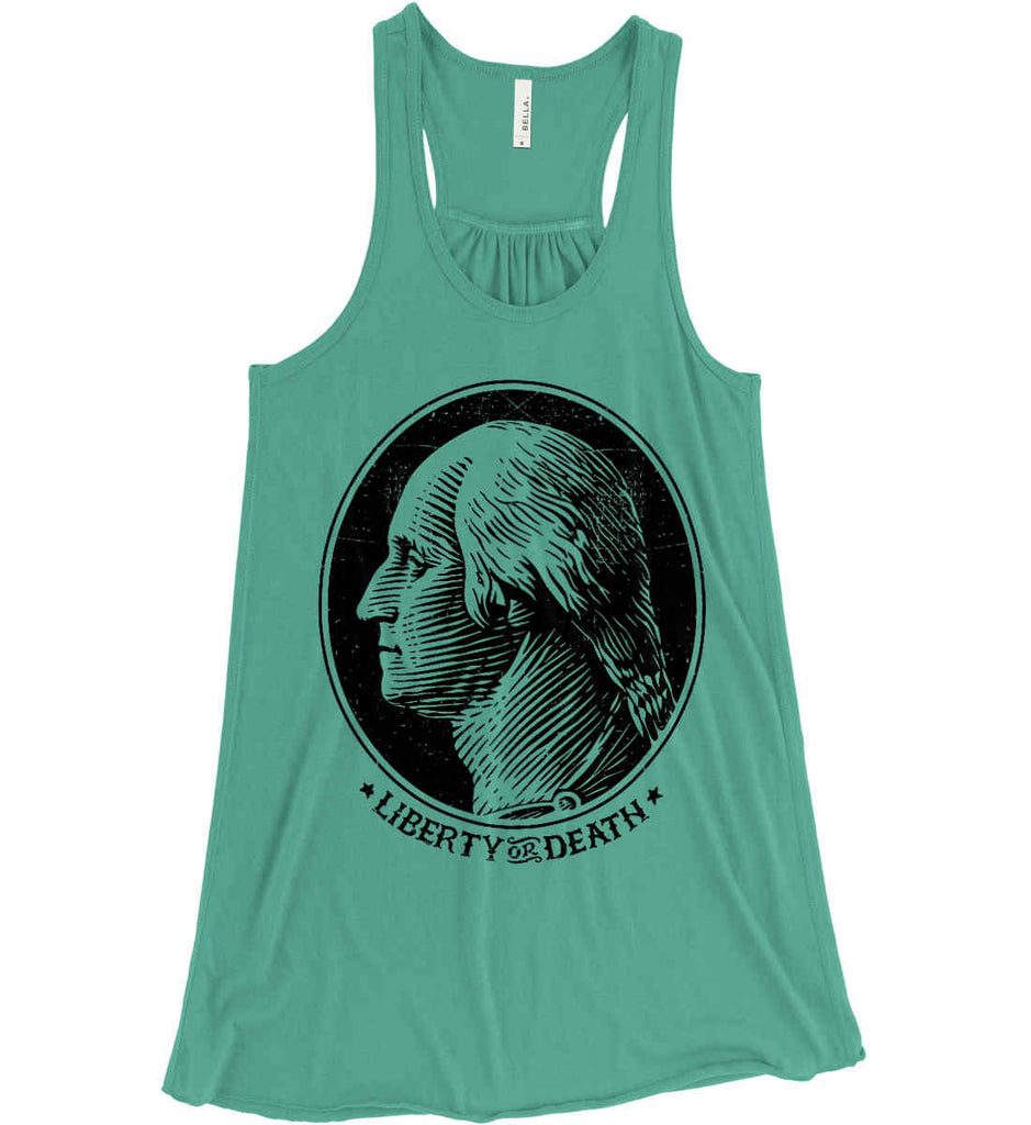 George Washington Liberty or Death. Black Print Women's: Bella + Canvas Flowy Racerback Tank.-2