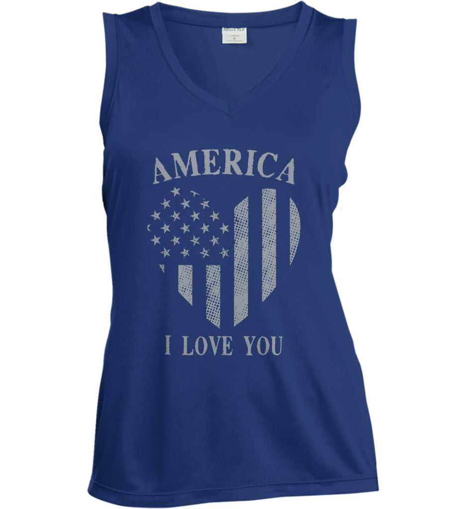 America I Love You Women's: Sport-Tek Ladies' Sleeveless Moisture Absorbing V-Neck.-4