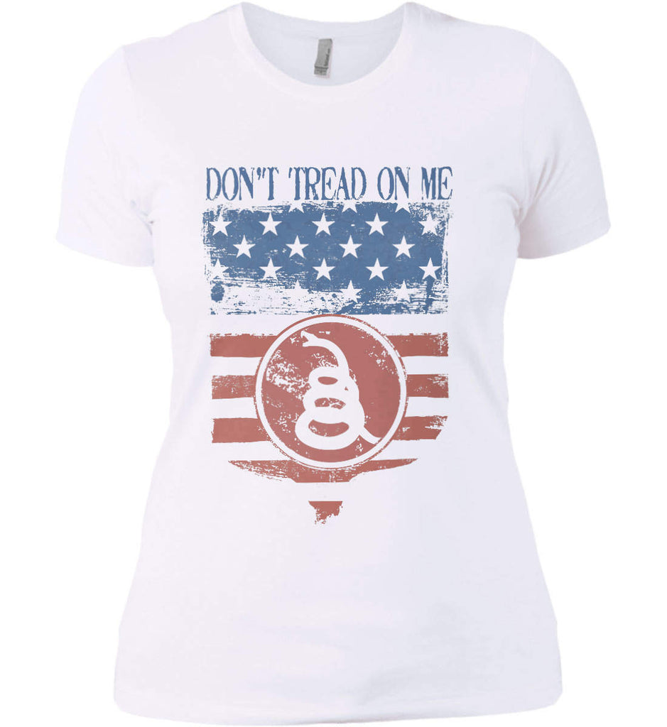 Don't Tread on Me. Rattlesnake. Faded Grunge Shield Women's: Next Level Ladies' Boyfriend (Girly) T-Shirt.-2