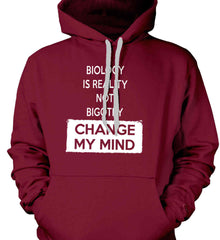 Biology Is Reality Not Bigotry - Change My Mind. Gildan Heavyweight Pullover Fleece Sweatshirt.