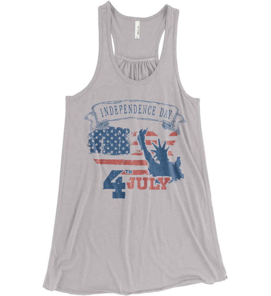 4th of July. Faded Grunge. Statue of Liberty. Women's: Bella + Canvas Flowy Racerback Tank.-3