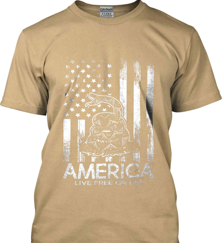 America. Live Free or Die. Don't Tread on Me. White Print. Gildan Ultra Cotton T-Shirt.-11