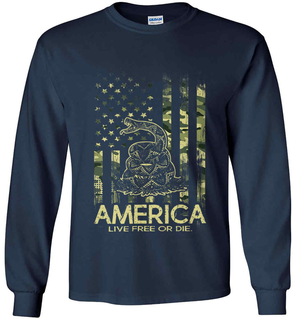 America. Live Free or Die. Don't Tread on Me. Camo. Gildan Ultra Cotton Long Sleeve Shirt.-2