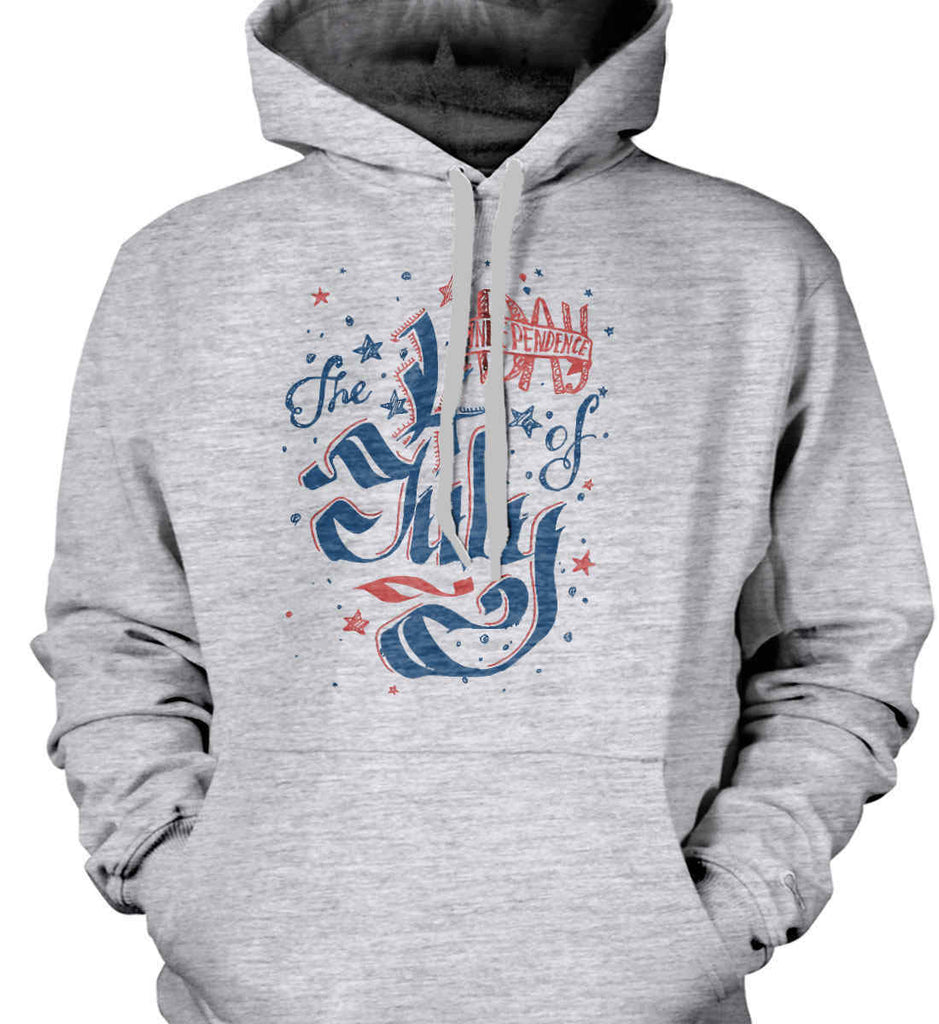 The 4th of July. Ribbon Script. Gildan Heavyweight Pullover Fleece Sweatshirt.-1