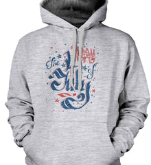The 4th of July. Ribbon Script. Gildan Heavyweight Pullover Fleece Sweatshirt.