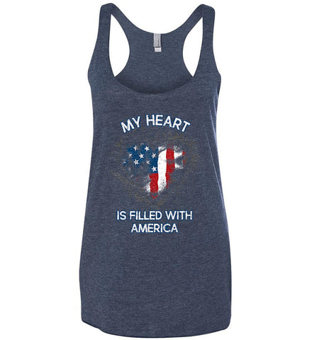 My Heart Is Filled With America. Women's: Next Level Ladies Ideal Racerback Tank.
