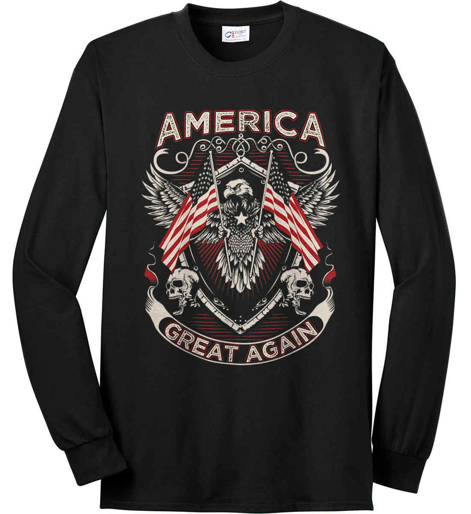 America. Great Again. Port & Co. Long Sleeve Shirt. Made in the USA..-1