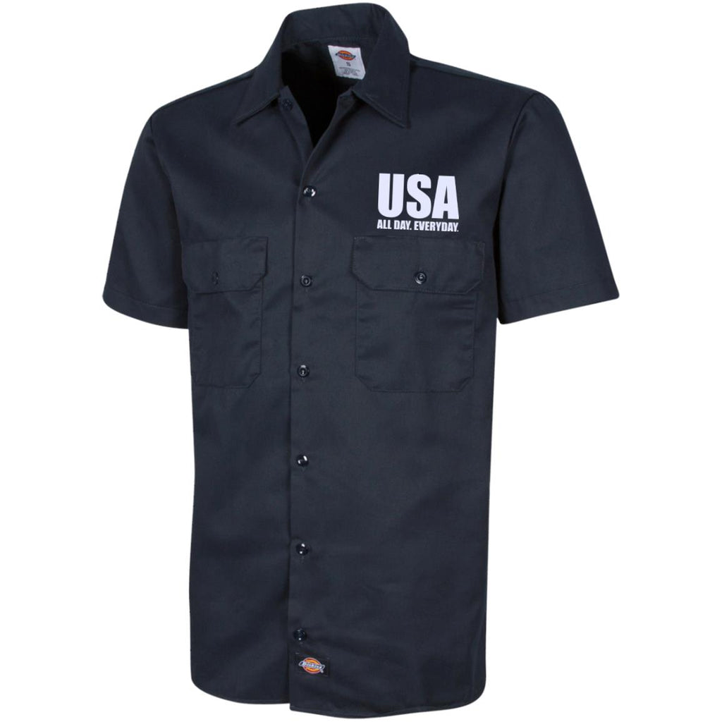 USA. All Day. Everyday. White Text. Dickies Men's Short Sleeve Workshirt. (Embroidered)-4
