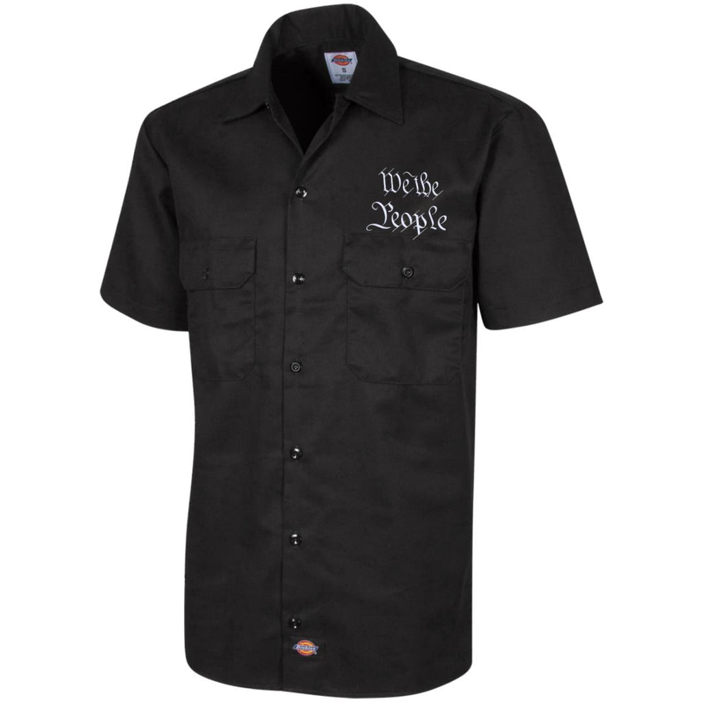 We the People. White Text. Dickies Men's Short Sleeve Workshirt. (Embroidered)-2
