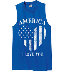 America I Love You White Print. Gildan Men's Ultra Cotton Sleeveless T-Shirt.