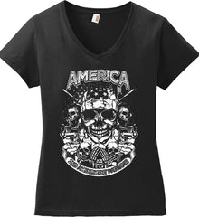 America. 2nd Amendment Patriots. White Print. Women's: Anvil Ladies' V-Neck T-Shirt.