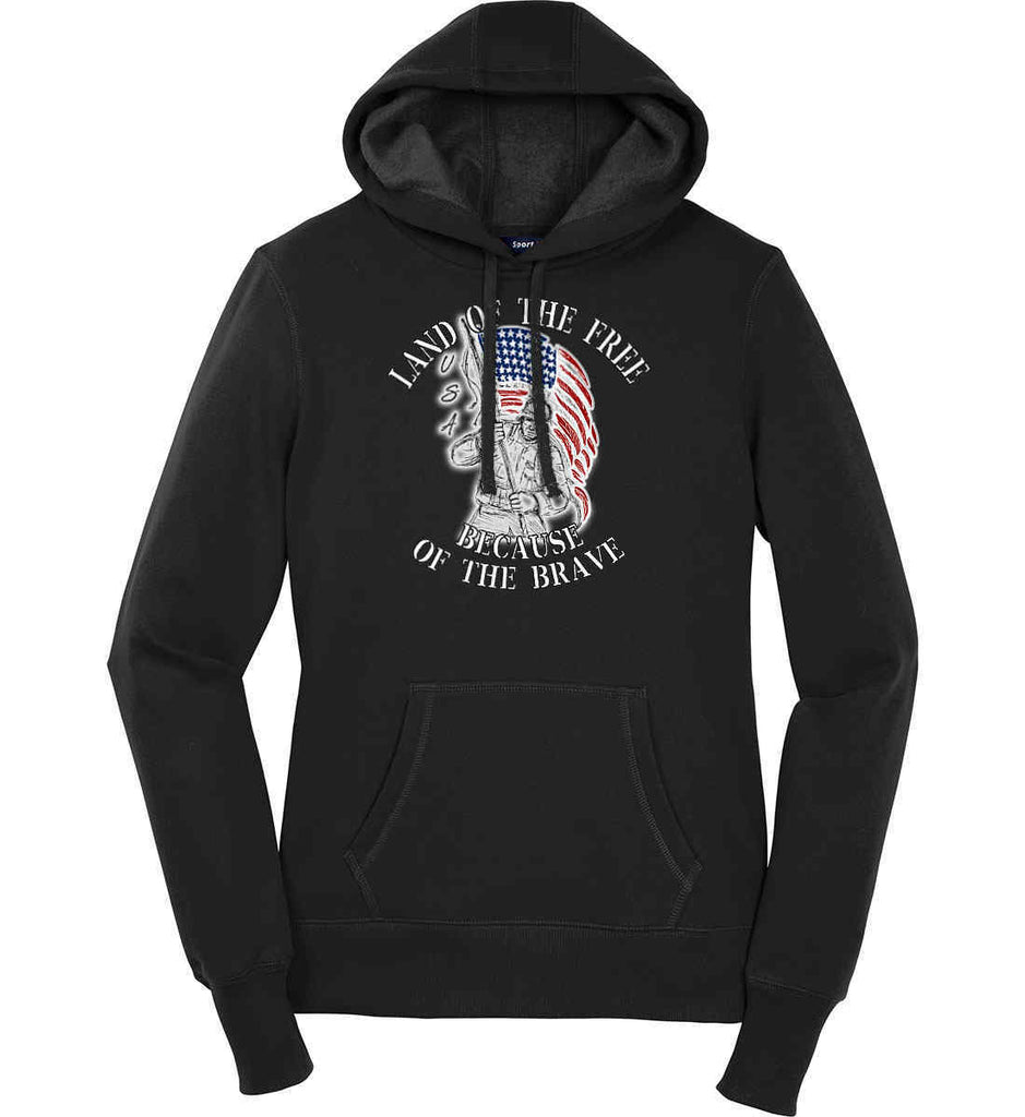 Land of the Free Because of The Brave. Women's: Sport-Tek Ladies Pullover Hooded Sweatshirt.-1