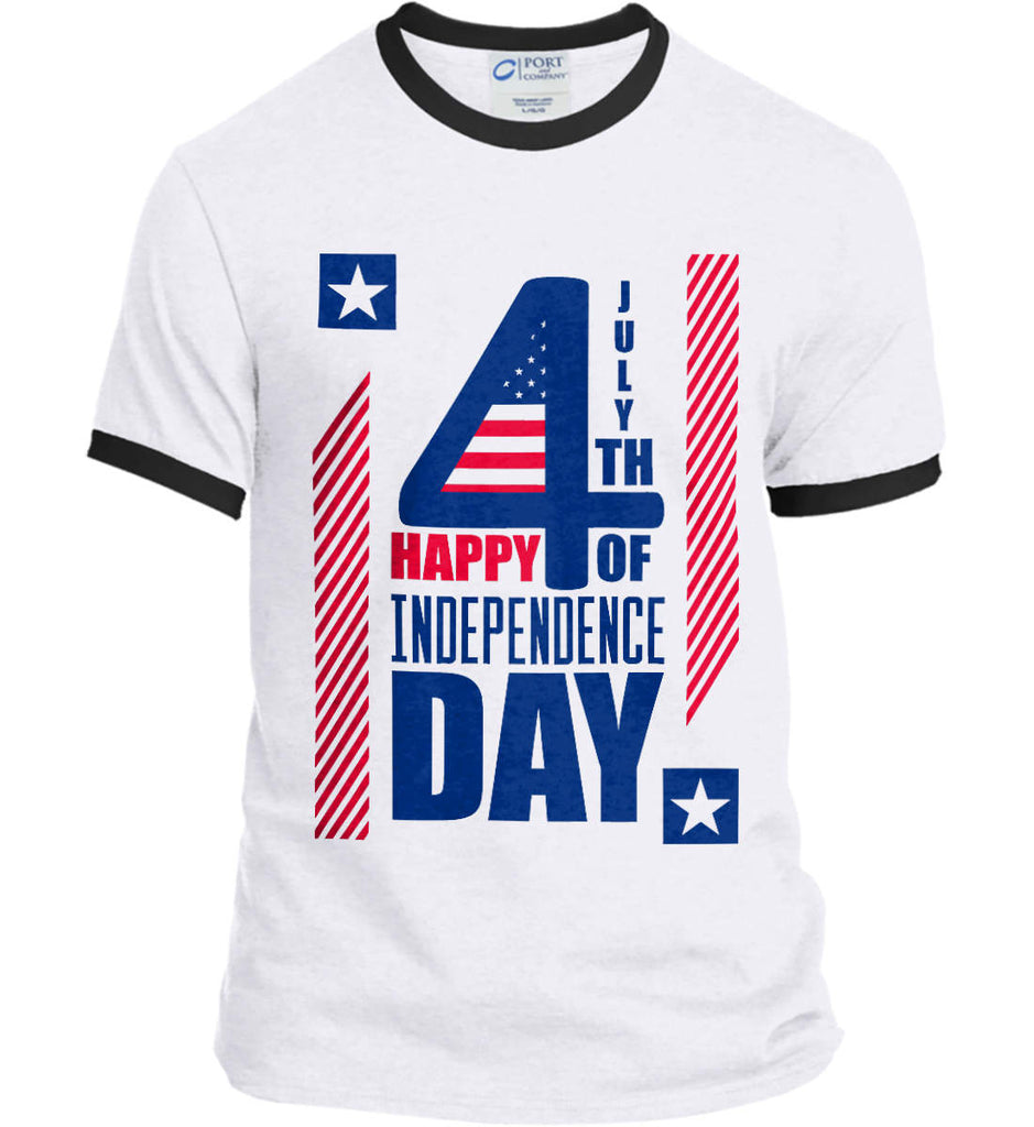 4th of July with Stars and Stripes. Port and Company Ringer Tee.-3