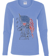 Soldier Flag Design. Black Print. Women's: Gildan Ladies Cotton Long Sleeve Shirt.