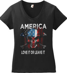 America. Love It or Leave It. Women's: Anvil Ladies' V-Neck T-Shirt.