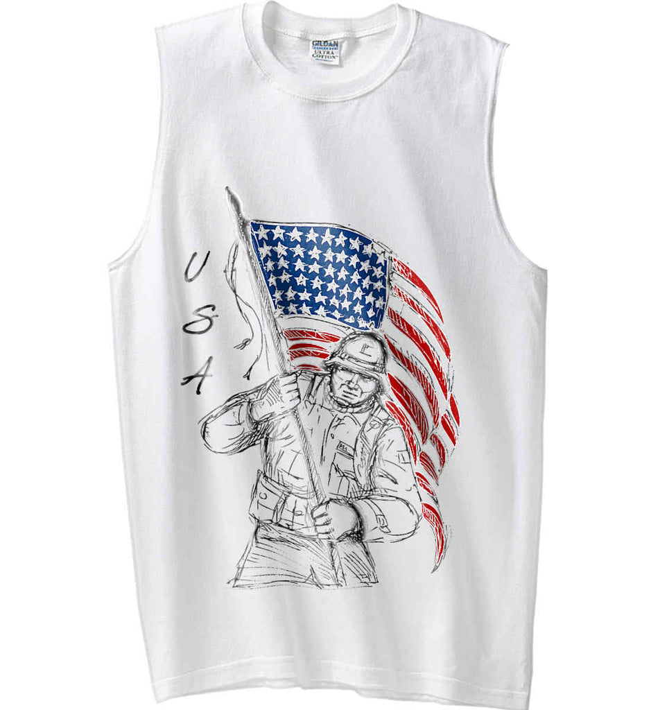 Soldier Flag Design. Black Print. Gildan Men's Ultra Cotton Sleeveless T-Shirt.-2