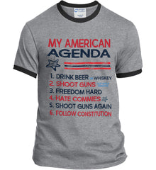 My American Agenda. Port and Company Ringer Tee.