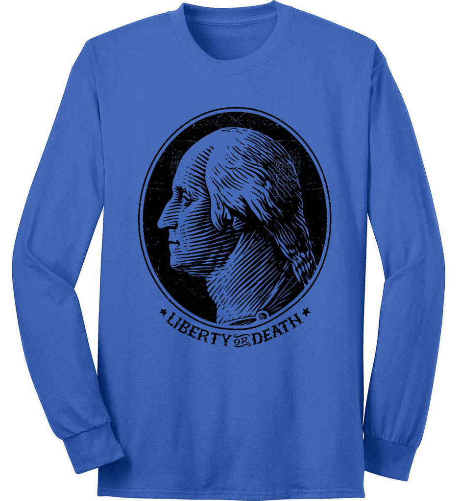 George Washington Liberty or Death. Black Print Port & Co. Long Sleeve Shirt. Made in the USA..-3