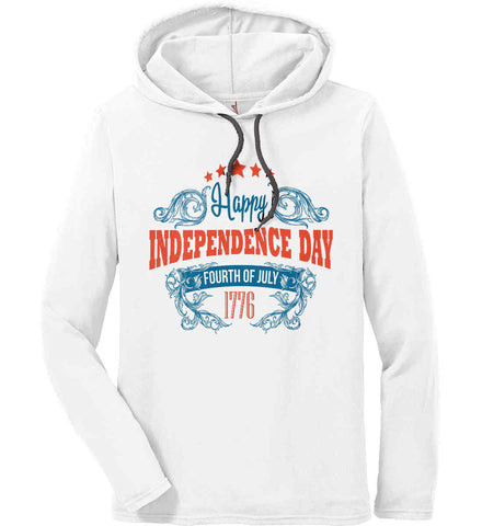 Happy Independence Day. Fourth of July. 1776. Anvil Long Sleeve T-Shirt Hoodie.