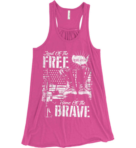 Land Of The Free. Home Of The Brave. 1776. White Print. Women's: Bella + Canvas Flowy Racerback Tank.