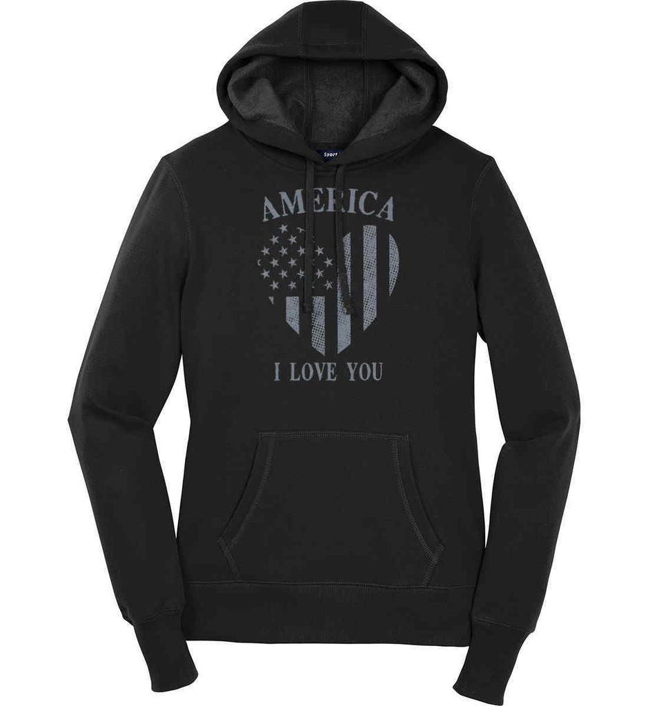 America I Love You Women's: Sport-Tek Ladies Pullover Hooded Sweatshirt.-1