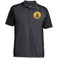 Don't Tread on Me Rattlesnake. Yellow/Black. Sport-Tek Men's Colorblock Sport-Wick Polo. (Embroidered)