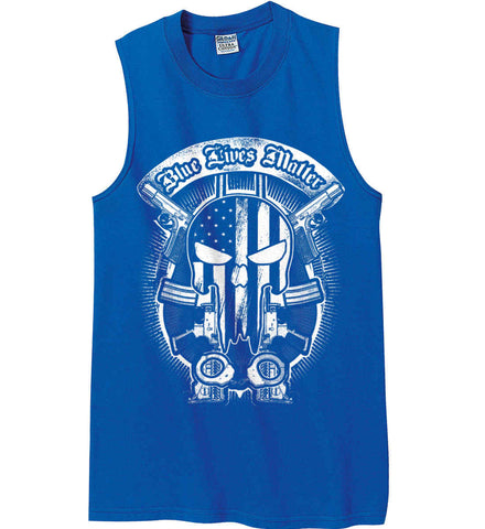 Blue Lives Matter. Punisher Skull. Gildan Men's Ultra Cotton Sleeveless T-Shirt.