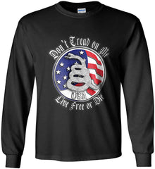 Don't Tread on Me: Red, White and Blue. Live Free or Die. Gildan Ultra Cotton Long Sleeve Shirt.