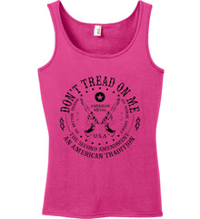Don't Tread on Me: The Second Amendment: An American Tradition. Black Print. Women's: Anvil Ladies' 100% Ringspun Cotton Tank Top.