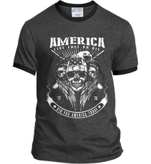 Did you America Today. 1776. Live Free or Die. Skull. White Print. Port and Company Ringer Tee.