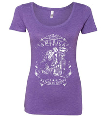 America A Nation of Heroes. Kneeling Soldier. White Print. Women's: Next Level Ladies' Triblend Scoop.