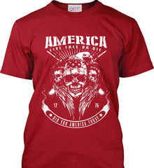 Did you America Today. 1776. Live Free or Die. Skull. White Print. Port & Co. Made in the USA T-Shirt.