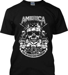 America. 2nd Amendment Patriots. White Print. Gildan Ultra Cotton T-Shirt.