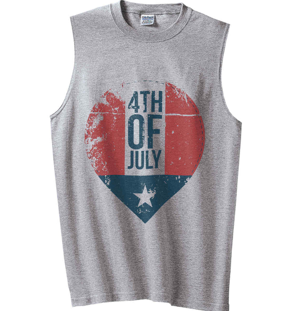 4th of July with Star. Gildan Men's Ultra Cotton Sleeveless T-Shirt.-2