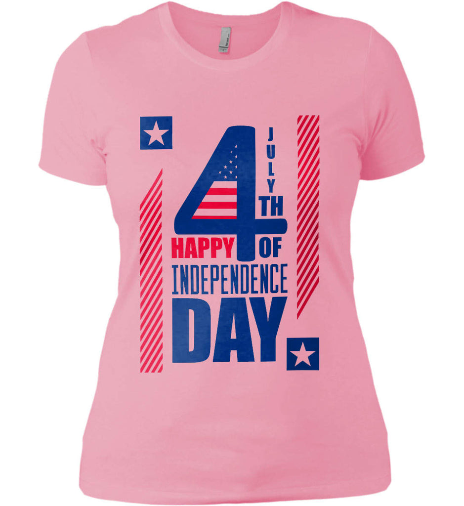 4th of July with Stars and Stripes. Women's: Next Level Ladies' Boyfriend (Girly) T-Shirt.-1