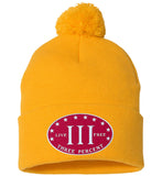 Three Percenter. Live Free. Hat. Sportsman Pom Pom Knit Cap. (Embroidered)