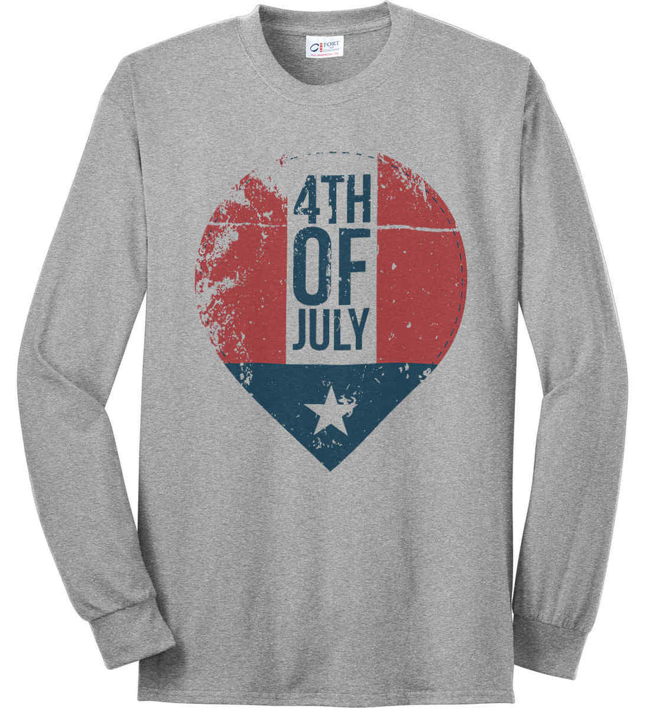 4th of July with Star. Port & Co. Long Sleeve Shirt. Made in the USA..-1