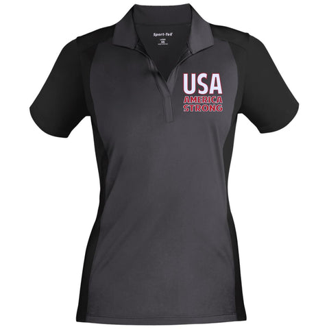 America Strong. White/Red. Women's: Sport-Tek Ladies' Colorblock Sport-Wick Polo. (Embroidered)