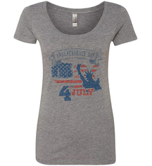 4th of July. Faded Grunge. Statue of Liberty. Women's: Next Level Ladies' Triblend Scoop.