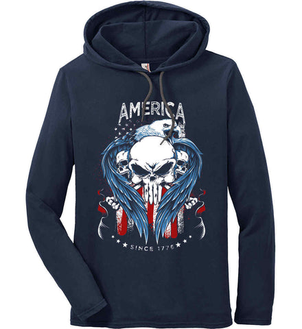 America. Punisher Skull and Bones. Since 1776. Anvil Long Sleeve T-Shirt Hoodie.