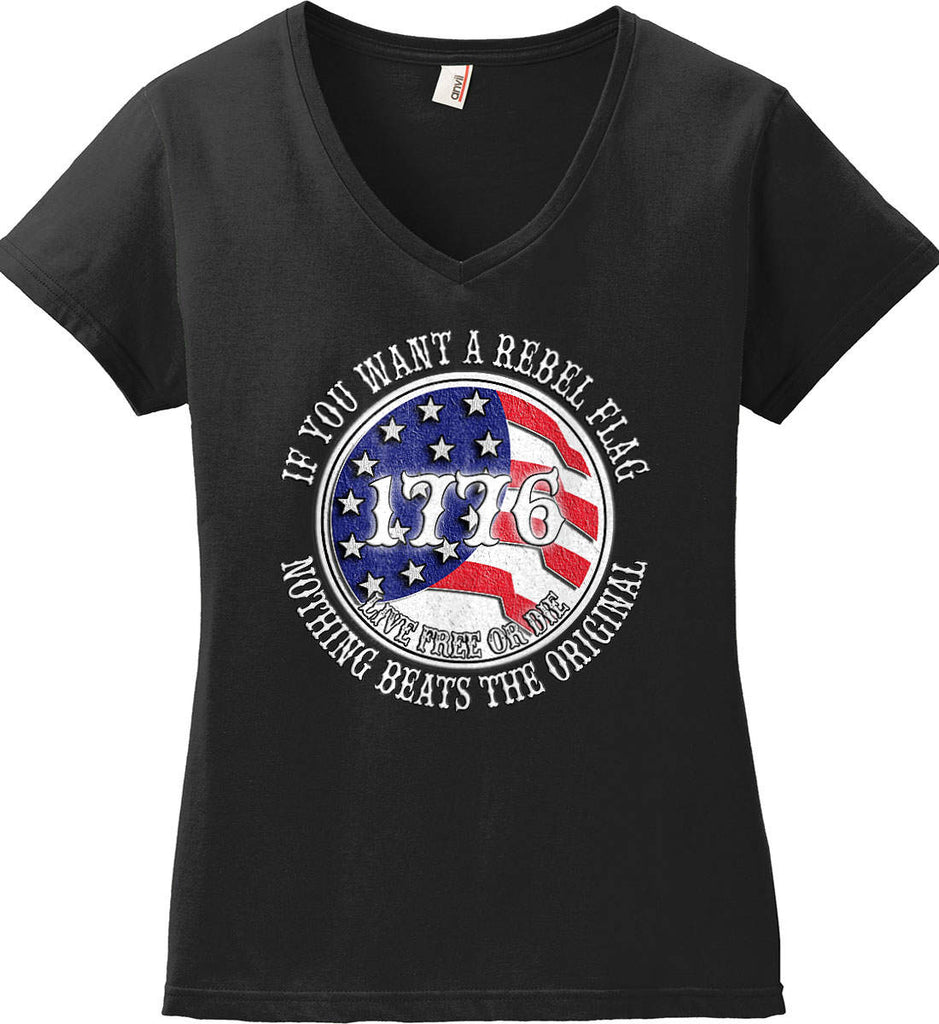 If you want a rebel flag. Nothing beats the original. Women's: Anvil Ladies' V-Neck T-Shirt.-1