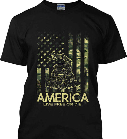 America. Live Free or Die. Don't Tread on Me. Camo. Gildan Ultra Cotton T-Shirt.