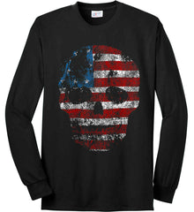 American Skull. Red, White and Blue. Port & Co. Long Sleeve Shirt. Made in the USA..