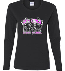 Gun Chick. Gun Toting. Pistol Packing. Pink Print. Women's: Gildan Ladies Cotton Long Sleeve Shirt.