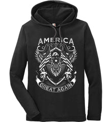 America. Great Again. White Print. Anvil Long Sleeve T-Shirt Hoodie.