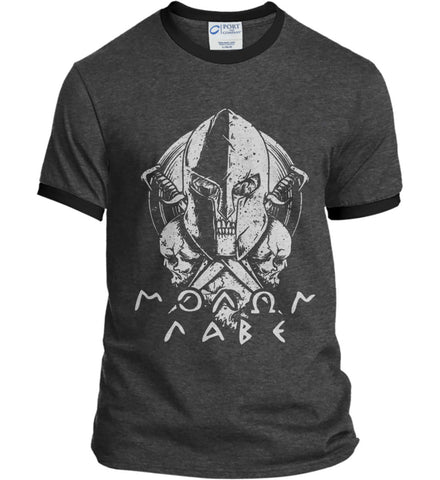 Molon Labe. Spartan. Grey Print. Port and Company Ringer Tee.