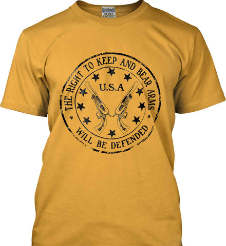 The Right to Keep and Bear Arms Will be Defended. Second Amendment. Black Print. Gildan Ultra Cotton T-Shirt.