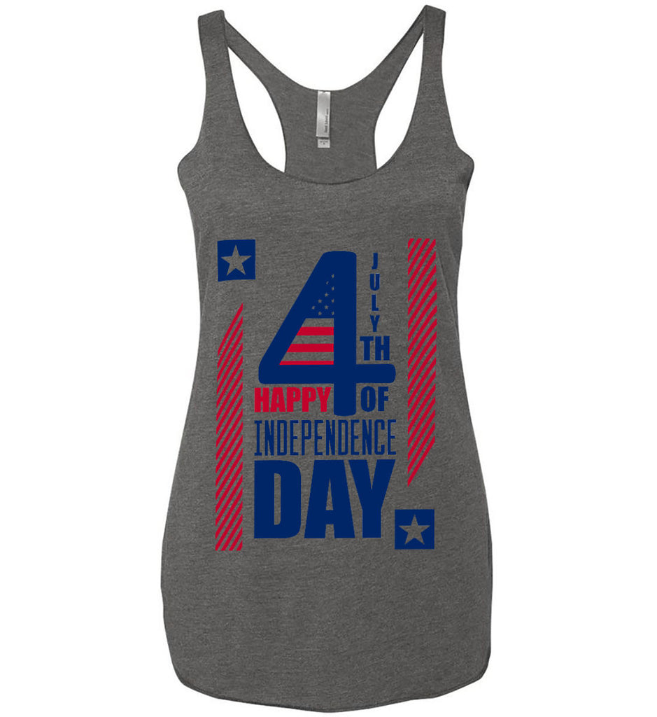 4th of July with Stars and Stripes. Women's: Next Level Ladies Ideal Racerback Tank.-1