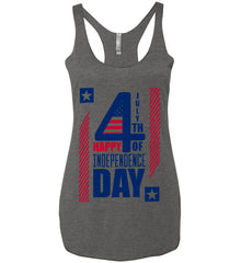4th of July with Stars and Stripes. Women's: Next Level Ladies Ideal Racerback Tank.